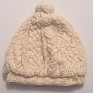 BabyGap off white cotton Pom hat baby 6-12 months